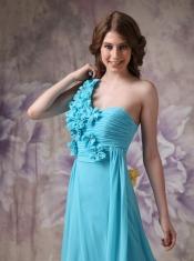 Amazing One Shoulder Side Drap Aqua Blue Prom Dress UK