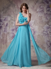 Amazing One Shoulder Side Drap Aqua Blue Prom Dress UK