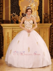 Designers List White Quinceanera Dress With Golden Details