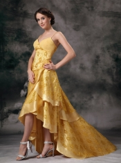High Low Layers Skirt Celebrity Dress With Golden Lace