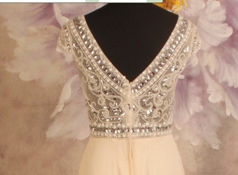 New Arrival Champagne Long Chiffon Skirt With Transparent Bodice