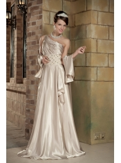 Champagne Empire Prom Dress With One Shoulder Long Skirt Beautiful Inexpensive