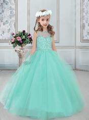 See Through Bateau Neckline Tulle Little Girl Dress in Apple Green