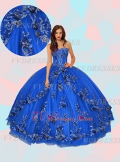 Elegant Royal Blue 3D Flowers Applique Decorate Sweet 16 Quinceanera Ball Gown Designer New