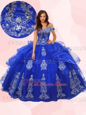 Latin & Mexico Girl Womanhood Ceremony Quince Ball Gown Royal Blue Off Shoulder Tulle Ruffles