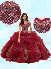 Off Shoulder V-Shaped Dropped Waist Ruffles With High Applique Quinceanera Ball Gown 2020