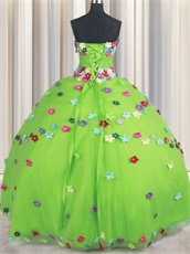 Spring Green With Colorful Floret T-Stage Ball Gown Nature Design Inspiration