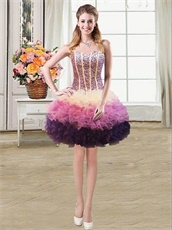 3 Colors Cake Layers Quinceanera Gown Four Pieces Detachable Different Wear