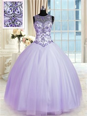 Dropped V Waist Basque Silver Crystals Lavender Lady Prom Ball Gown Inexpensive