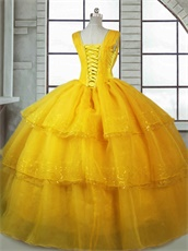 Square Three Layers Organza Beauty and The Beast Theme Cake Quinceanera Ball Gown