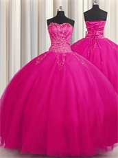 Fluffy Layers Mesh Gauze Tulle Fuchsia Quinceanera Ball Gown Online Cheap