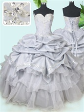 Sweetheart Silver Taffeta Bubble and Organza Layers Sweet Prom Ball Gown