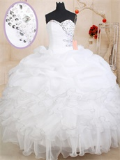 Bubble Skirt Bottom White Ruffles With Silver Edge Quinceaneara Ball Gown