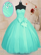Sweetheart Mint Apple Green Simple Flat Floor Length Mesh Quinceanera Ball Gown
