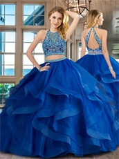 Royal Blue Elastic Horsehair Ruffles Two Pieces Show Wasit Court Ball Gown Top Seller