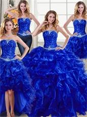 Four Pieces Royal Blue Detachable DIY Wear Women Quinceanera Ball Gown Cheap