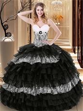 Zebra and Black Organza Successive Cake Layers Quinceanera Ball Gown