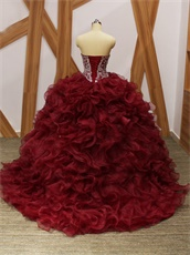 Silver Beading V-Shape Basque Wine Red Organza Dense Ruffles Quince Military Ball Gowns