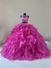 Factory Direct Two Pieces Deep Fuchsia Glossy Organza Military Ball Gown Court Train