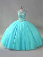 Sheer Scoop Neck Beading Bodice Ice Blue Tulle Dancing Quinceanera Ball Gown Elegant