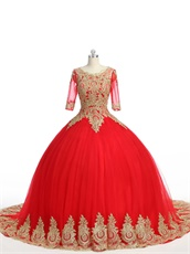 See Through Scoop Half Sleeves Gold Applique Red Mesh Quince Ball Gown Chapel Train