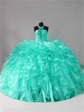 Hollow Out Cleavage Apple Green Ruffles Sweep Train Vestidos De Quinceanera Queen
