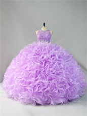 Two Pieces Scoop Applique Blouse Lilac Curly Ruffles Graceful Quinceanera Cake Gowns