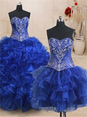 Detachable Embroidery Bodice/Mini/Big Skirt Three Pieces Quinceanera Ball Gown Royal