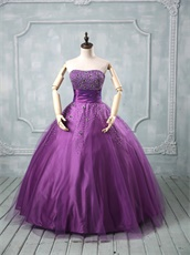 Wide Pleated Belt Custom Fitted Mauve Purple Quinceanera Ball Gown Little Puffy