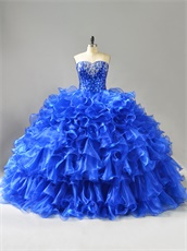 Sweetheart Paillette Bodice Layers Curly Ruffles Royal Blue Military Ball Gown Cheap