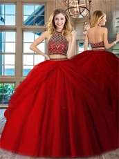 Two Pieces High Collar Rhombus Beadwork Blouse Pick-up Overlay Red Quince Court Dress
