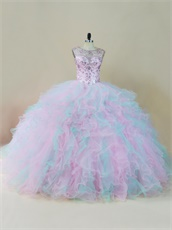 Sheer Scoop Crystals Bodice Baby Pink/Ice Blue Mixed Ruffles Quinceanera Dress Gowns