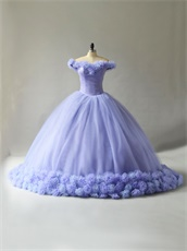 Puffy Lavender Tulle Handmade 3D Flower Cathedral Train Fairyland Quinceanera Ball Gown