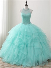 Pearl and Crystals Sheer Scoop Blouse Mint Green Ruffles Pretty Quinceanera Court Dress