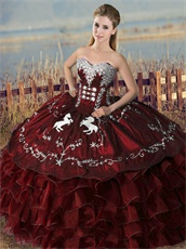 Embroidery Horse Overlay Burgundy Western Village Quinceanera Ceremony Ball Gown Cheap