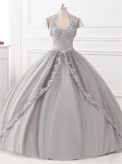 Dual Straps Applique Blouse Silver Tulle Quinceanera Evening Ball Gown and Jacket