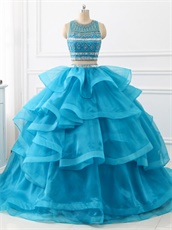 Two Pieces Detached Beadwork Blouse Horsehair Ruffles Train Quince Ball Gown Azure