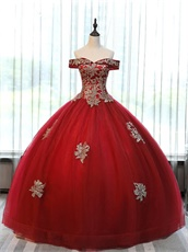 Off Shoulder Basque Corset Red Tulle Puffy Skirt Horsehair Hemline Ceremony Ball Gown