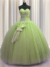 Glamorous Dust Yellow Green Puffy Prom Ball Gown With Spakle Tulle