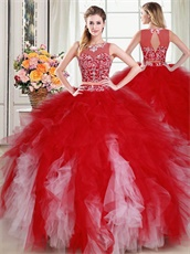 Scoop Two Pieces Separated Show Belly Dense Red and Pink Tulle Ruffles Quince Gowns