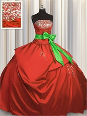 Puffy Red Taffeta Quinceanera Sweet 16 Ball Gown With Spring Green Bowknot