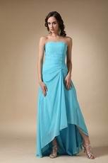 Aqua Blue High Low Chiffon Dress To Bridesmaid Wear