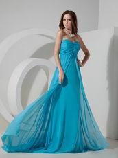Brush Train Prom Dress Made By Doger Blue Chiffon Fabric