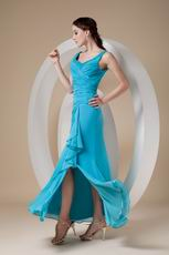 Ankle-length Straps Teal Chiffon Prom Dress Stores Online