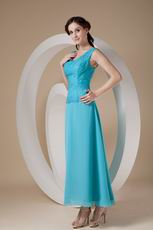 Wide Straps Ankle-length Aqua Mother Of The Bride Dress