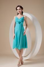 Spaghetti Straps Tea-length Chiffon Bridesmaid Dress