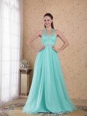 Popular Empire Halter Floor-length Aqua Beaded Lady Prom Dress