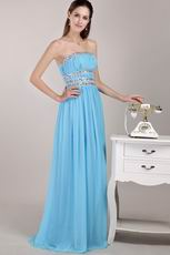Aqua Blue Chiffon Fabric Designer Prom Dress For Lady