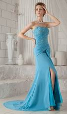 Column Strapless Front Split Skirt Aqua Blue Prom Celebrity Dress
