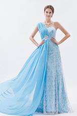 2013 One Shoulder Lace Skirt Aqua Blue Chiffon Prom Dress